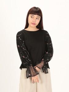 チュール刺繍袖プルオーバー