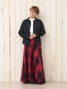 BIGチェックフレアースカート